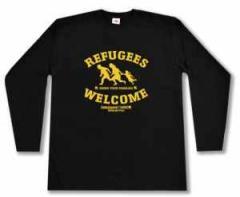 """Zum Longsleeve """"Refugees welcome Linksjugend"""" für 16,00 € gehen."""