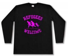 """Zum Longsleeve """"Refugees welcome (pink)"""" für 13,00 € gehen."""
