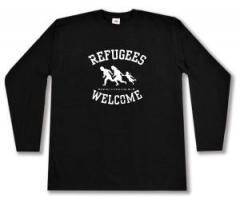 """Zum Longsleeve """"Refugees welcome (weiß)"""" für 13,00 € gehen."""