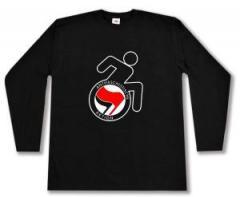 """Zum Longsleeve """"RollifahrerIn Antifaschistische Aktion (rot/schwarz)"""" für 13,00 € gehen."""