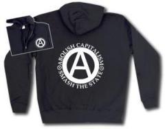 """Zur Kapuzen-Jacke """"Abolish Capitalism - Smash The State"""" für 29,24 € gehen."""