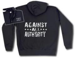 """Zur Kapuzen-Jacke """"Against All Authority"""" für 35,00 € gehen."""
