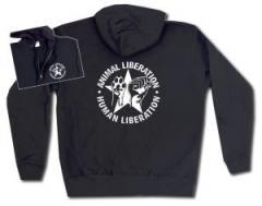 """Zur Kapuzen-Jacke """"Animal Liberation - Human Liberation (mit Stern)"""" für 30,00 € gehen."""