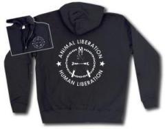 """Zur Kapuzen-Jacke """"Animal Liberation - Human Liberation (Zange)"""" für 30,00 € gehen."""