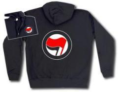 """Zur Kapuzen-Jacke """"Antifa Logo (rot/schwarz, ohne Schrift)"""" für 30,00 € gehen."""