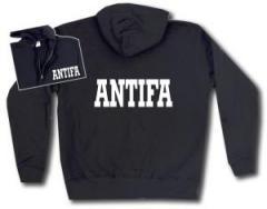 """Zur Kapuzen-Jacke """"Antifa Schriftzug"""" für 30,00 € gehen."""