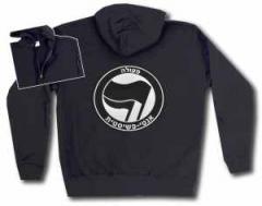 """Zur Kapuzen-Jacke """"Antifaschistische Aktion - hebräisch (schwarz/schwarz)"""" für 30,00 € gehen."""