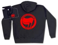 """Zur Kapuzen-Jacke """"Antifaschistische Aktion (rot/rot)"""" für 29,24 € gehen."""