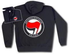 """Zur Kapuzen-Jacke """"Antifaschistische Aktion (rot/schwarz)"""" für 30,00 € gehen."""