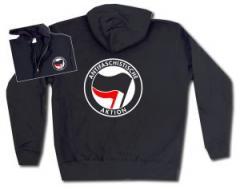 """Zur Kapuzen-Jacke """"Antifaschistische Aktion (schwarz/rot)"""" für 29,24 € gehen."""