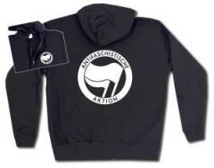 """Zur Kapuzen-Jacke """"Antifaschistische Aktion (schwarz/schwarz)"""" für 29,24 € gehen."""
