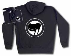 """Zur Kapuzen-Jacke """"Antifaschistische Aktion (schwarz/schwarz) ohne Schrift"""" für 30,00 € gehen."""