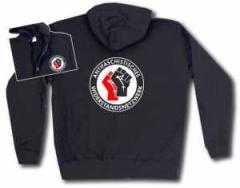 """Zur Kapuzen-Jacke """"Antifaschistisches Widerstandsnetzwerk - Fäuste (rot/schwarz)"""" für 32,00 € gehen."""