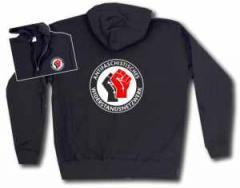 """Zur Kapuzen-Jacke """"Antifaschistisches Widerstandsnetzwerk - Fäuste (schwarz/rot)"""" für 32,00 € gehen."""