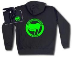 """Zur Kapuzen-Jacke """"Antispeziesistische Aktion (grün/grün)"""" für 30,00 € gehen."""