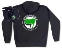 """Zur Kapuzen-Jacke """"Antispeziesistische Aktion (grün/schwarz)"""" für 30,00 € gehen."""
