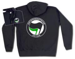"""Zur Kapuzen-Jacke """"Antispeziesistische Aktion (schwarz/grün)"""" für 29,24 € gehen."""