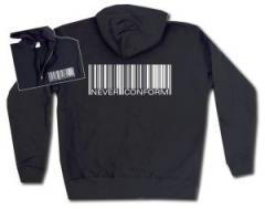 """Zur Kapuzen-Jacke """"Barcode - Never conform"""" für 30,00 € gehen."""