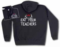 """Zur Kapuzen-Jacke """"Eat your teachers"""" für 33,00 € gehen."""