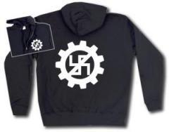 """Zur Kapuzen-Jacke """"EBM gegen Nazis"""" für 30,00 € gehen."""