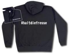 """Zur Kapuzen-Jacke """"#haltdiefresse"""" für 29,24 € gehen."""
