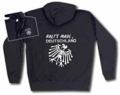 """Zur Kapuzen-Jacke """"Halt's Maul Deutschland (weiß)"""" für 30,00 € gehen."""