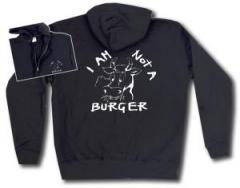 """Zur Kapuzen-Jacke """"I am not a burger"""" für 30,00 € gehen."""