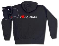 """Zur Kapuzen-Jacke """"I love Animals"""" für 30,00 € gehen."""