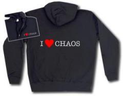 """Zur Kapuzen-Jacke """"I love Chaos"""" für 30,00 € gehen."""
