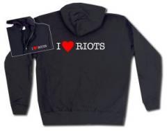 """Zur Kapuzen-Jacke """"I love Riots"""" für 30,00 € gehen."""