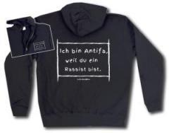 """Zur Kapuzen-Jacke """"Ich bin Antifa, weil du ein Rassist bist"""" für 32,00 € gehen."""