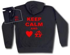 """Zur Kapuzen-Jacke """"Keep calm and love anarchy"""" für 29,24 € gehen."""
