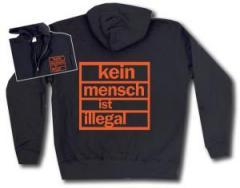 """Zur Kapuzen-Jacke """"Kein Mensch ist illegal (orange)"""" für 30,00 € gehen."""