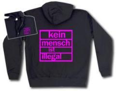 """Zur Kapuzen-Jacke """"Kein Mensch ist illegal (pink)"""" für 30,00 € gehen."""