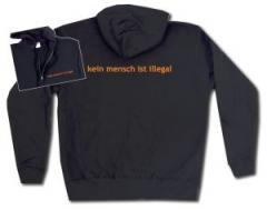 """Zur Kapuzen-Jacke """"kein mensch ist illegal - Text"""" für 30,00 € gehen."""