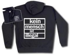 """Zur Kapuzen-Jacke """"kein mensch ist illegal"""" für 30,00 € gehen."""