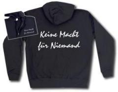 """Zur Kapuzen-Jacke """"Keine Macht für Niemand"""" für 29,24 € gehen."""