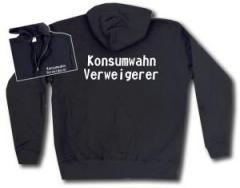 """Zur Kapuzen-Jacke """"Konsumwahn Verweigerer"""" für 29,24 € gehen."""