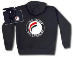"""Zur Kapuzen-Jacke """"Love Hockey Hate Fascism"""" für 30,00 € gehen."""