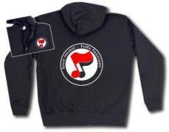 """Zur Kapuzen-Jacke """"love music - hate fascism (Noten)"""" für 30,00 € gehen."""