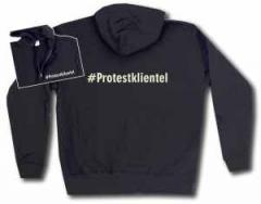 """Zur Kapuzen-Jacke """"#Protestklientel"""" für 30,00 € gehen."""
