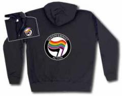"""Zur Kapuzen-Jacke """"Queerfeminist Action"""" für 34,12 € gehen."""