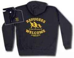 """Zur Kapuzen-Jacke """"Refugees welcome Linksjugend"""" für 33,00 € gehen."""