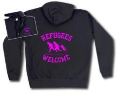 """Zur Kapuzen-Jacke """"Refugees welcome (pink)"""" für 30,00 € gehen."""