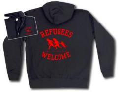 """Zur Kapuzen-Jacke """"Refugees welcome (rot)"""" für 30,00 € gehen."""