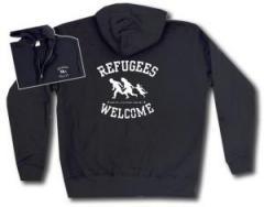 """Zur Kapuzen-Jacke """"Refugees welcome (weiß)"""" für 30,00 € gehen."""