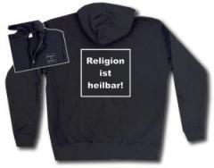 """Zur Kapuzen-Jacke """"Religion ist heilbar!"""" für 29,24 € gehen."""
