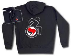 """Zur Kapuzen-Jacke """"RollifahrerIn Antifaschistische Aktion (rot/schwarz)"""" für 29,24 € gehen."""
