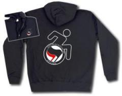 """Zur Kapuzen-Jacke """"RollifahrerIn Antifaschistische Aktion (schwarz/rot)"""" für 29,24 € gehen."""