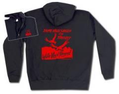 """Zur Kapuzen-Jacke """"Zahme Vögel singen von Freiheit. Wilde Vögel fliegen! (rot)"""" für 29,24 € gehen."""